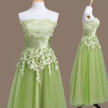 Tulle Sleeveless Tea Length Dama Dress and Appliques