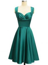 Attractive Ruching Dama Dress for Quinceanera Teal Lace Up Sleeveless Knee Length