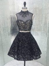 New Arrival Black High-neck Backless Beading and Lace and Appliques Prom Party Dress Sleeveless