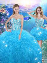 Perfect Sleeveless Lace Up Floor Length Beading and Ruffles Sweet 16 Dress