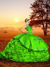 Wonderful Lace Up 15th Birthday Dress Green for Military Ball and Sweet 16 and Quinceanera with Embroidery and Ruffles Brush Train