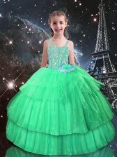 Best Apple Green Straps Lace Up Beading and Ruffled Layers Little Girls Pageant Dress Sleeveless