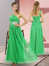 Green Empire Beading Prom Gown Lace Up Chiffon Sleeveless Floor Length