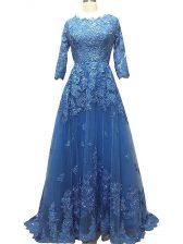 Empire 3 4 Length Sleeve Blue Prom Dresses Brush Train Zipper