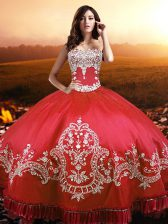 Custom Designed Coral Red Sleeveless Taffeta Lace Up Ball Gown Prom Dress for Military Ball and Sweet 16 and Quinceanera