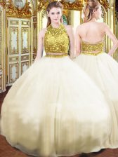 Floor Length Zipper Quince Ball Gowns Champagne for Military Ball and Sweet 16 and Quinceanera with Beading