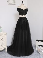 Sleeveless Floor Length Beading Zipper Prom Party Dress with Black