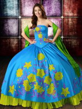 Glittering Multi-color Vestidos de Quinceanera Military Ball and Sweet 16 and Quinceanera with Embroidery Strapless Sleeveless Lace Up