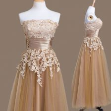 Best Selling Brown Strapless Neckline Appliques Quinceanera Court of Honor Dress Sleeveless Lace Up
