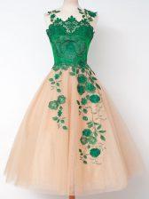 Knee Length A-line Sleeveless Peach Damas Dress Lace Up