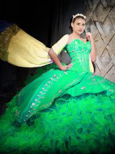 Pretty Brush Train Ball Gowns Ball Gown Prom Dress Green Sweetheart Organza Sleeveless With Train Lace Up