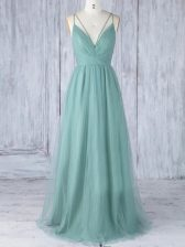 Green Sleeveless Appliques Floor Length Quinceanera Dama Dress