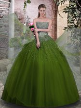 Floor Length Ball Gowns Sleeveless Olive Green Quinceanera Gown Lace Up