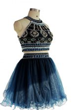 Navy Blue Tulle Backless Evening Dress Sleeveless Mini Length Beading