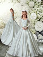 Long Sleeves Brush Train Lace Clasp Handle Toddler Flower Girl Dress