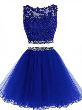 Beauteous Sleeveless Tulle Mini Length Zipper Prom Dress in Royal Blue with Beading and Lace and Appliques