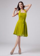 Edgy Olive Green Sleeveless Knee Length Ruching Zipper Prom Party Dress