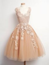Champagne Sleeveless Tulle Lace Up Vestidos de Damas for Prom and Party and Wedding Party