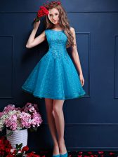 Knee Length Lace Up Quinceanera Dama Dress Teal for Prom and Party with Beading and Lace