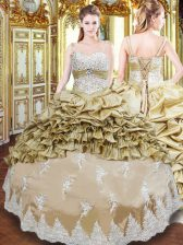 Champagne Lace Up Straps Beading and Appliques and Ruffled Layers and Pick Ups Sweet 16 Dresses Taffeta Sleeveless