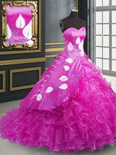 Fashionable Fuchsia Ball Gowns Embroidery and Ruffles Quinceanera Gowns Lace Up Organza Sleeveless