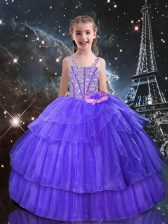 Pretty Eggplant Purple Straps Neckline Beading and Ruffled Layers Little Girls Pageant Dress Wholesale Sleeveless Lace Up
