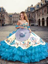 Latest Aqua Blue Ball Gowns Sweetheart Sleeveless Organza Floor Length Lace Up Embroidery and Ruffled Layers Sweet 16 Dress