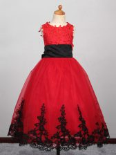 Dramatic Floor Length Red Little Girl Pageant Dress Tulle Sleeveless Appliques