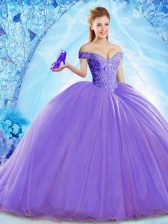 Sumptuous Lavender Organza Lace Up Off The Shoulder Sleeveless 15 Quinceanera Dress Brush Train Beading