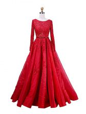 Suitable Scoop Long Sleeves Prom Dress Brush Train Beading and Lace Red Taffeta