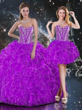 Purple Lace Up Quinceanera Dress Beading and Ruffles Sleeveless Floor Length