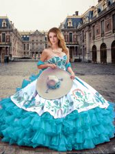 Amazing Blue And White Sleeveless Embroidery and Ruffled Layers Floor Length 15 Quinceanera Dress