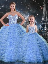 Fashion Blue Tulle Lace Up Quinceanera Dresses Sleeveless Floor Length Beading and Ruffles