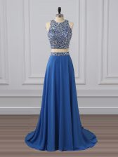 Custom Designed Blue Dress for Prom Prom and Party with Beading and Sequins Scoop Sleeveless Zipper