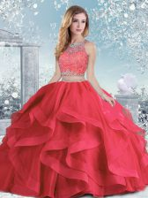 Tulle Sleeveless Floor Length Vestidos de Quinceanera and Beading and Ruffles