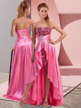 High Low Empire Sleeveless Rose Pink Zipper