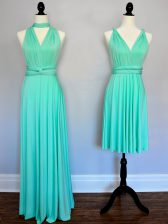 Extravagant Chiffon V-neck Sleeveless Lace Up Ruching Dama Dress for Quinceanera in Turquoise