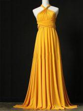 Sweep Train Empire Damas Dress Orange Halter Top Chiffon Sleeveless Criss Cross