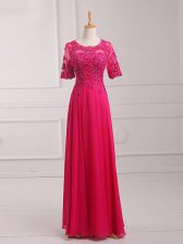 Flare Hot Pink Chiffon Zipper Scoop Half Sleeves Floor Length Prom Evening Gown Lace and Appliques