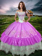 Suitable Sleeveless Beading and Embroidery and Ruffled Layers Lace Up Quinceanera Gowns