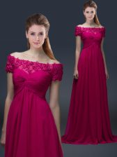 Charming Fuchsia Off The Shoulder Neckline Appliques Prom Dress Short Sleeves Lace Up