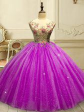 Fuchsia Tulle Lace Up Scoop Sleeveless Floor Length Quinceanera Gown Appliques and Sequins