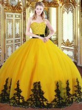 Gold Sleeveless Beading and Appliques Floor Length Quinceanera Dress