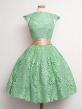 Green Lace Lace Up High-neck Cap Sleeves Knee Length Quinceanera Court of Honor Dress Belt