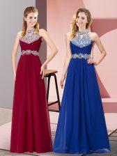 Wine Red A-line Beading Prom Dress Backless Chiffon Sleeveless Floor Length