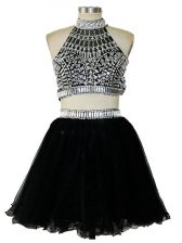 Sleeveless Mini Length Beading Criss Cross Prom Dress with Black