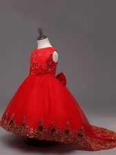 Enchanting Red Ball Gowns Scoop Sleeveless Tulle High Low Zipper Lace and Bowknot Kids Pageant Dress