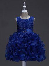 Organza Sleeveless Knee Length Little Girls Pageant Dress Wholesale and Ruffles and Belt