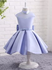 Gorgeous Lavender Taffeta Zipper High-neck Cap Sleeves Knee Length Little Girls Pageant Dress Beading and Bowknot and Belt