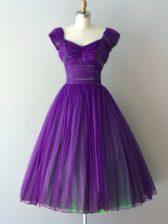 Attractive Ruching Vestidos de Damas Purple Lace Up Cap Sleeves Knee Length